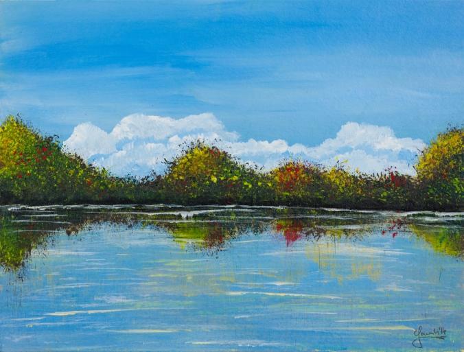 Uferlandschaft 32 x 24 c, Acryl und Öl 2015