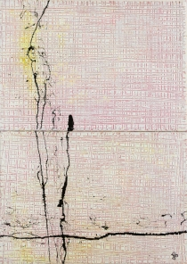 Hatch and Scratch Small White Two 2x 40 x 30 cm Acrylic Lacquer 2013