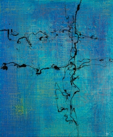 Hatch and Scratch Blue One 50 x 60 cm Acrylic Lacquer 2013