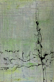 Hatch and Scratch White One 50 x 70 cm Acrylic Lacquer 2013